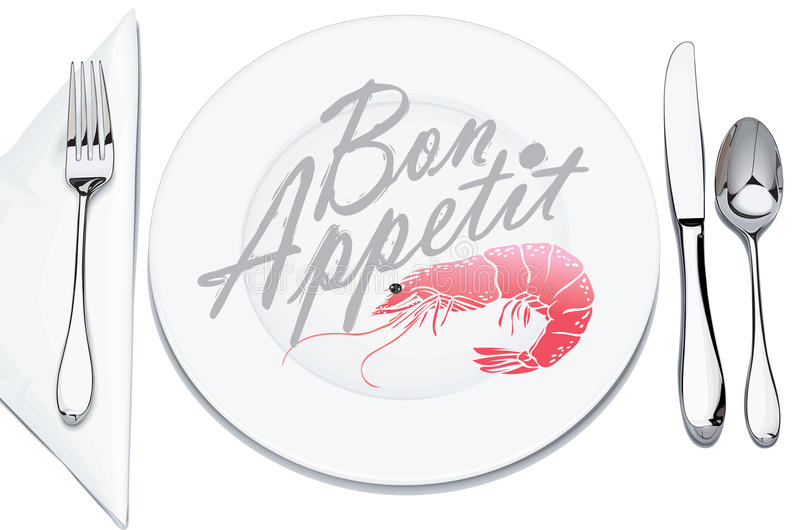 Serving plates and cutlery. Decorated with shrimp and inscription bon appetit vector illustration