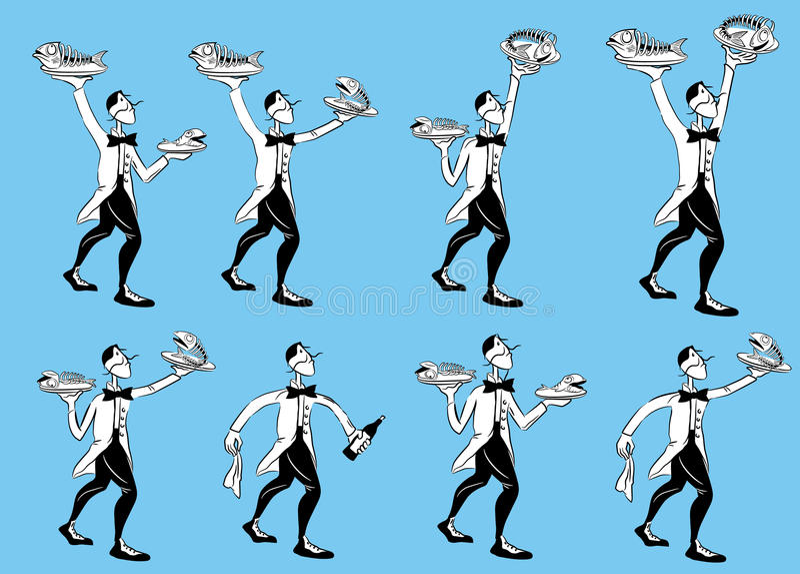 Serving restaurant waiter illustrations vector illustration