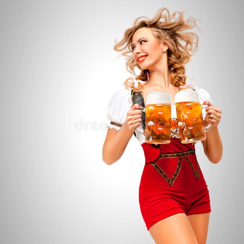 Serving with smile. stock images
