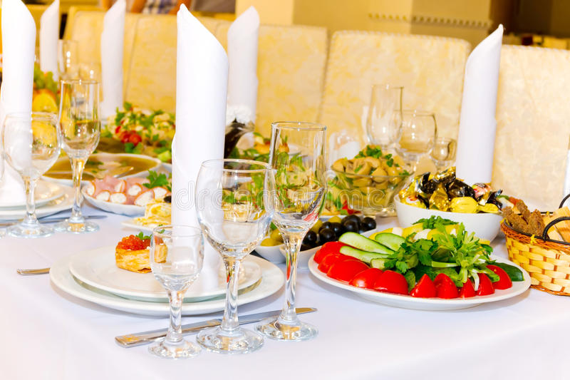 Serving Of Table In A Restaurant Stock Photo
