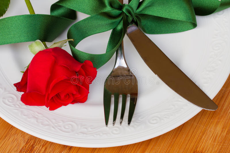Download Serving of table with rose stock photo. Image of sharp - 28774178