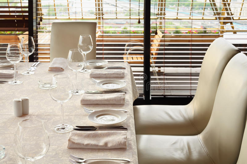 Download Serving At Table With Tablecloth In Restaurant Stock Photo - Image: 23237882