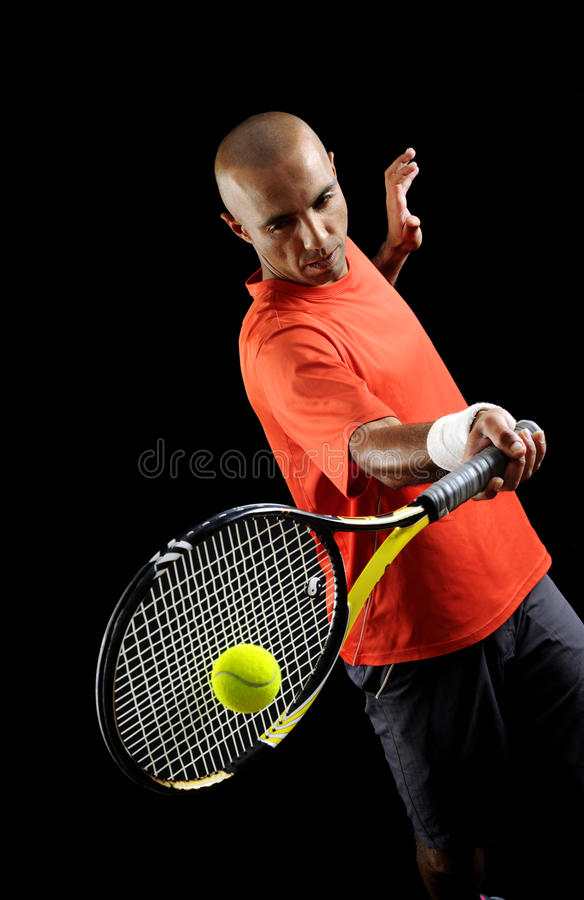 Serving a tennis ball stock images
