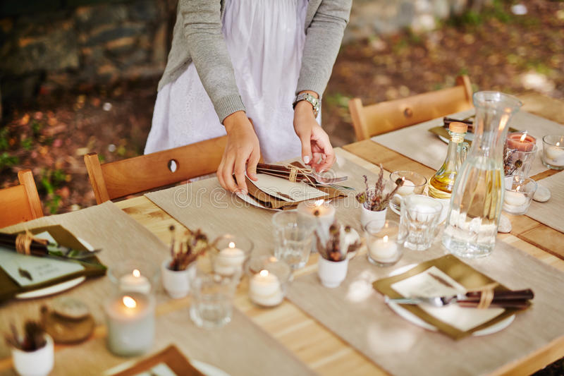 Serving Thanksgiving table stock photography