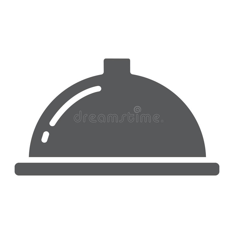 Serving tray glyph icon, food and restaurant, dish sign, vector graphics, a solid pattern on a white background. stock illustration