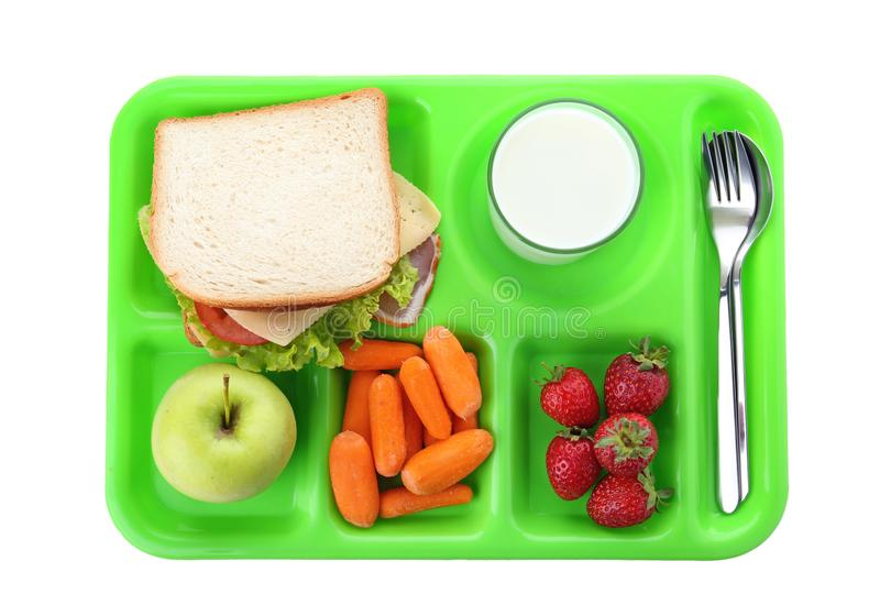 Serving tray with healthy food on white background, top view. School lunch royalty free stock photos
