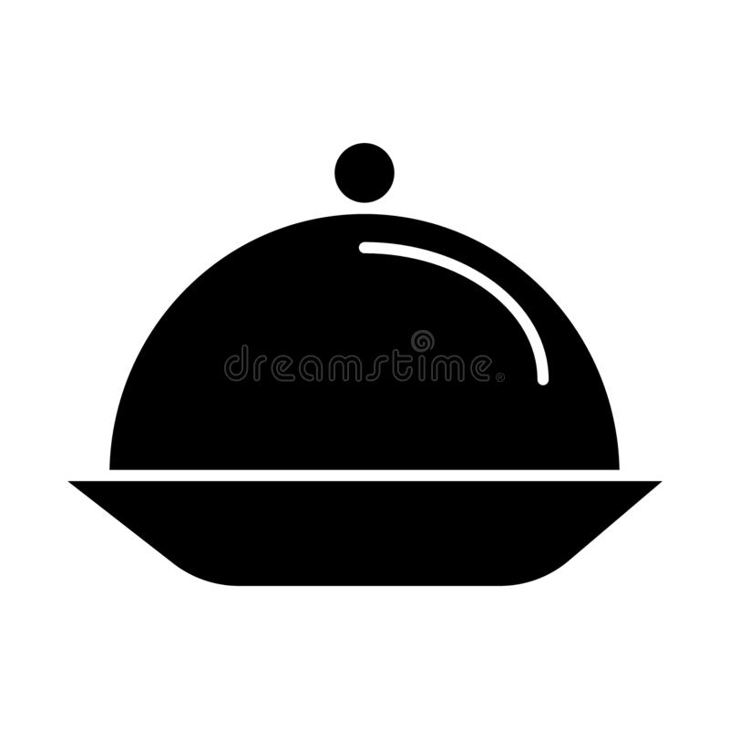 Serving tray solid icon. Plate with lid vector illustration isolated on white. Dish glyph style design, designed for web stock illustration