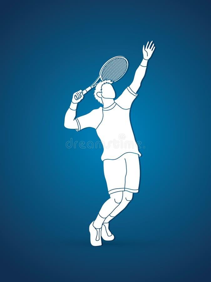 Servire del tennis dell'uomo illustrazione vettoriale