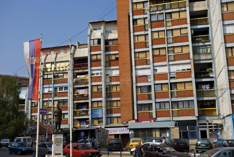 Servisch deel van de stad, Mitrovica, Kosovo stock foto's