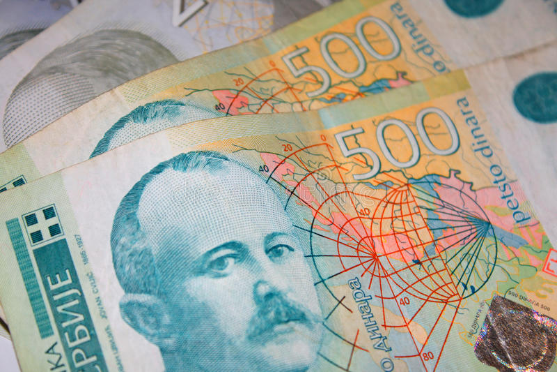 Servische dinar Rekening van vijf honderd dinars royalty-vrije stock foto's