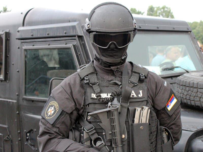 Servische Speciale Antiterroristeneenheidsexploitant royalty-vrije stock fotografie