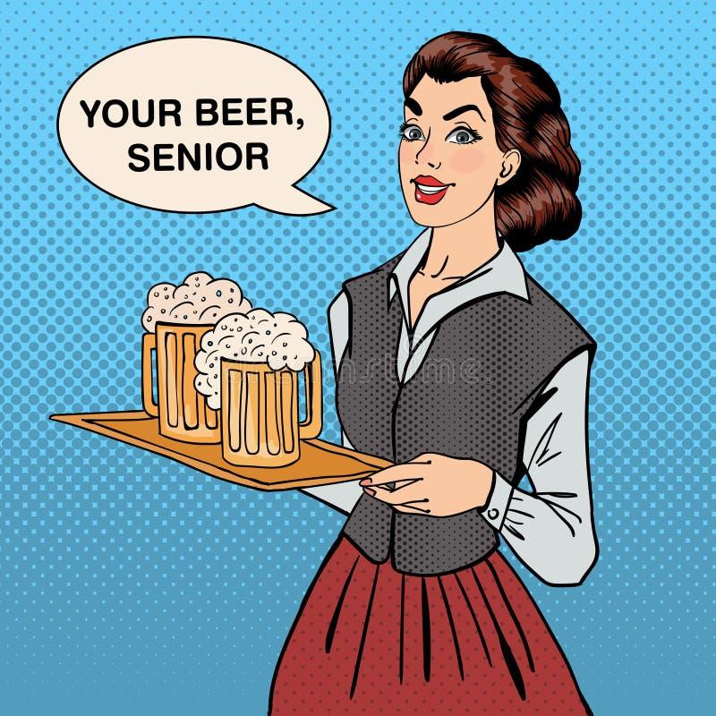 Servitris med öl Kvinna som rymmer ett magasin med exponeringsglas av öl vektor illustrationer