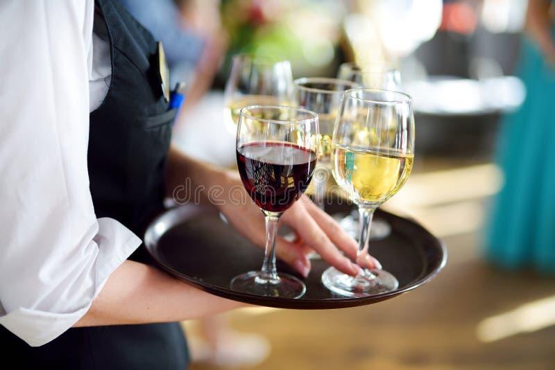 Servitris med maträtten av champagne- och vinexponeringsglas royaltyfria bilder