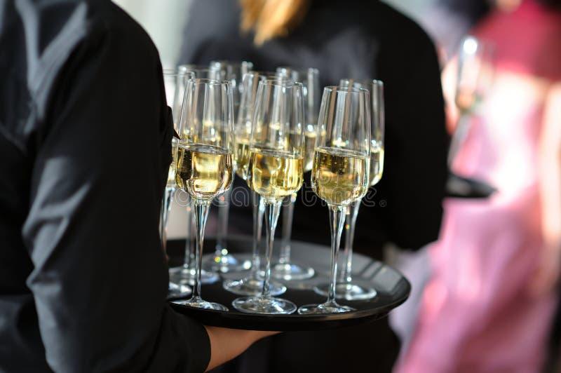 Servitris som rymmer en maträtt av champagne- och vinexponeringsglas royaltyfri bild