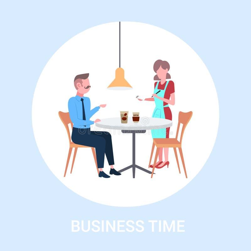 Servitris som tar beställning från arbetare för affärsmanbesökarekafé i tjänande som drinkar för förkläde till mannen som har aff stock illustrationer