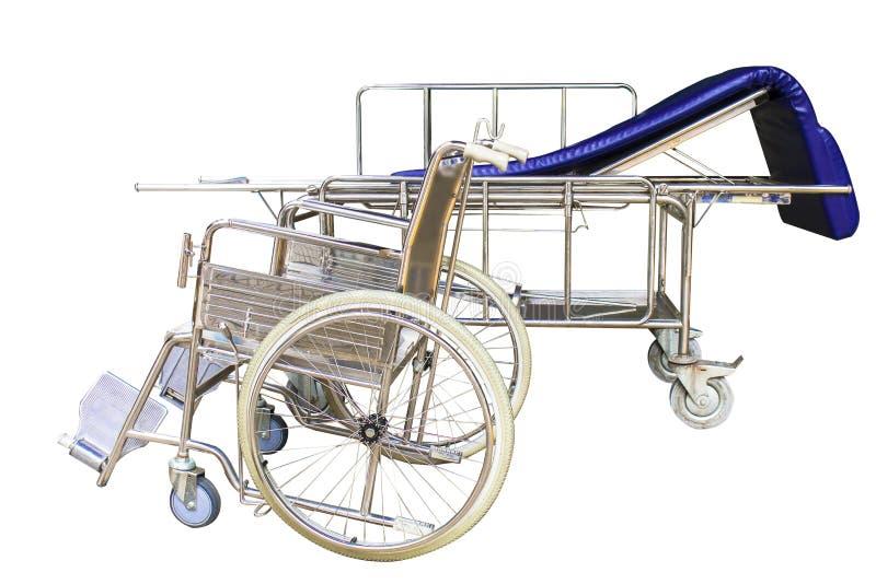 Servizi aspettanti del letto di ospedale e delle sedie a rotelle fotografie stock libere da diritti