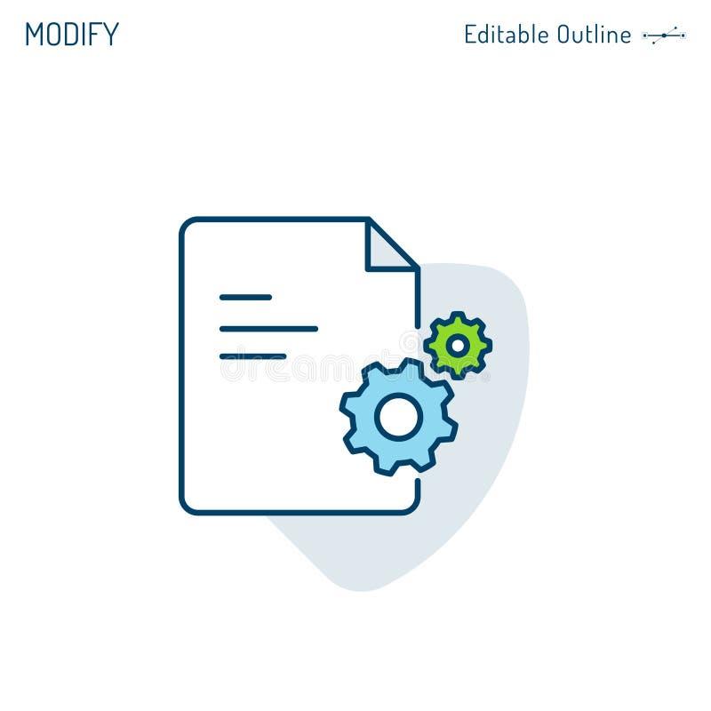 Servizi commerciali guida, documentazione di verifica, documento d'analisi guasti del FAQ, aiuto tecnico, icona dell'ingranaggio, illustrazione vettoriale