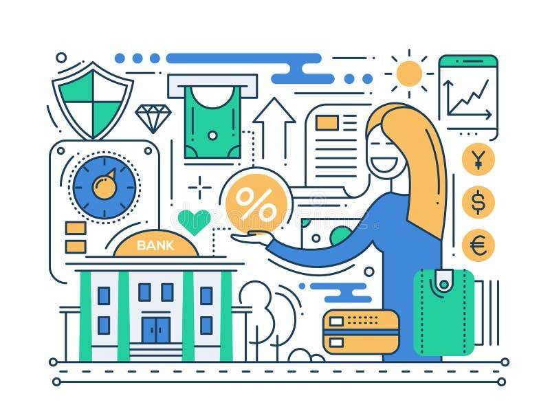 Servizi del credito - linea composizione in progettazione illustrazione di stock