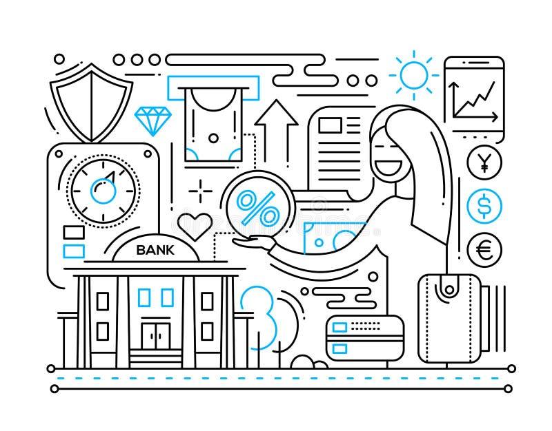 Servizi del credito - linea composizione in progettazione illustrazione vettoriale