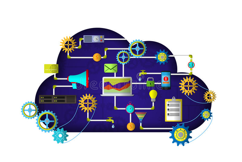Servizi della nuvola di web Srartup digitale di vendita della gestione illustrazione di stock