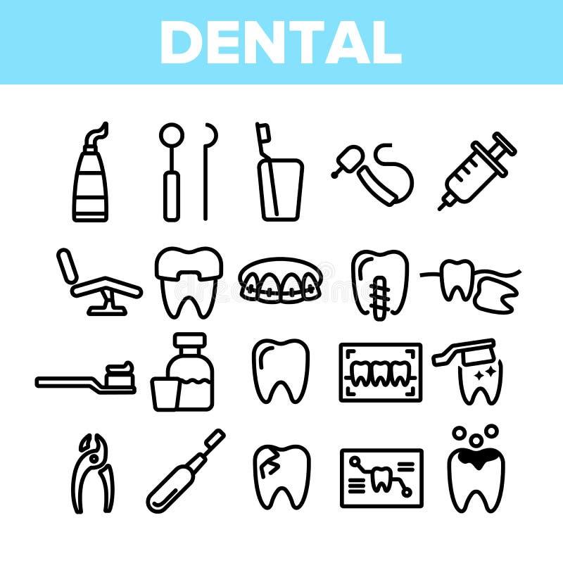 Servizi dentari, insieme lineare delle icone di vettore di stomatologia royalty illustrazione gratis