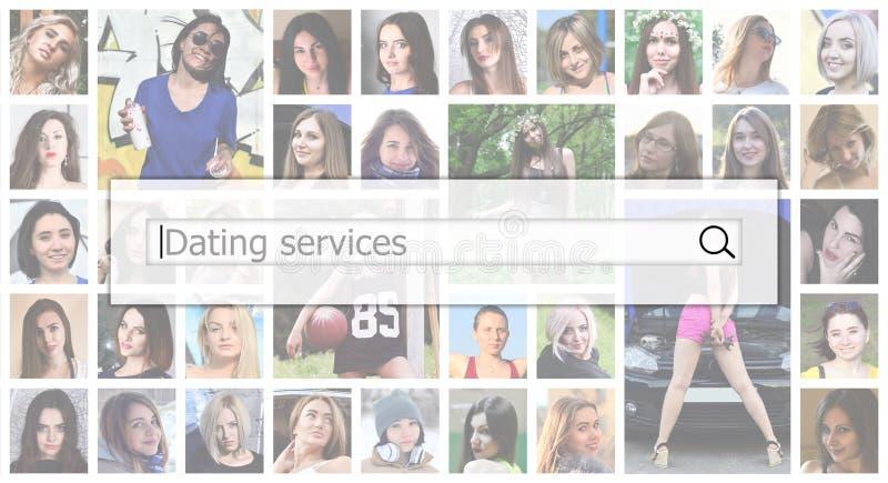 Servizi di datazione Il testo è visualizzato nella search box sul immagini stock libere da diritti