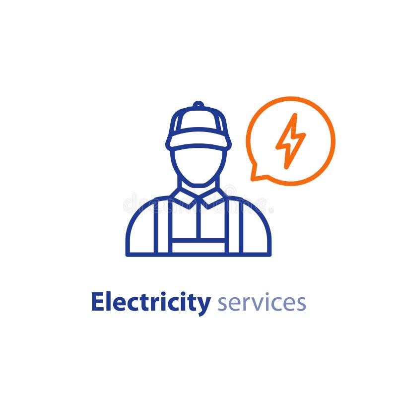 Servizi di elettricità, icona dell'elettricista, riparatore elettrotecnico, persona del tecnico, ingegnere di manutenzione illustrazione vettoriale