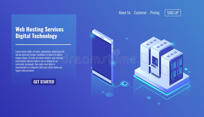 Servizi di web hosting, vettore isometrico della stanza del server, tecnologia digitale, scaffale del server, archivio su stoccag illustrazione di stock