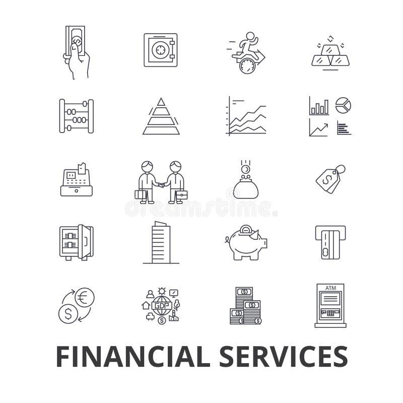 Servizi finanziari, operazioni, finanza, pianificazione, soldi, contabilità, linea icone di investimento Colpi editabili piano illustrazione vettoriale
