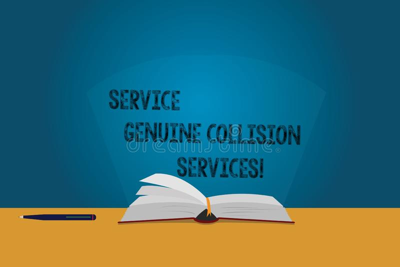 Servizi genuini di collisione di servizio del testo della scrittura Colore di servizi di incidente stradale automatico di signifi illustrazione di stock