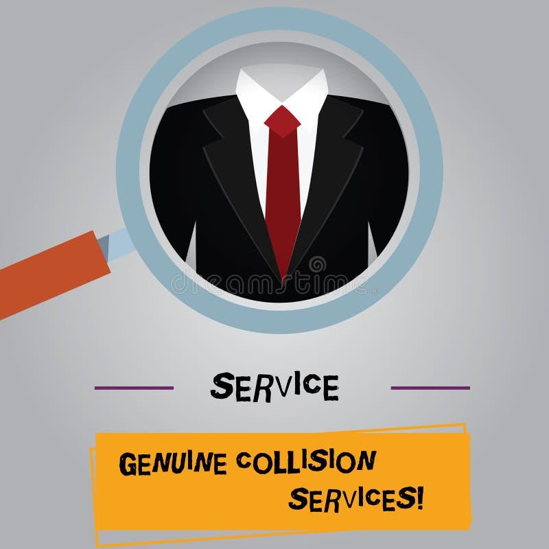 Servizi genuini di collisione di servizio del testo della scrittura Lente d'ingrandimento di servizi di incidente stradale automa illustrazione di stock