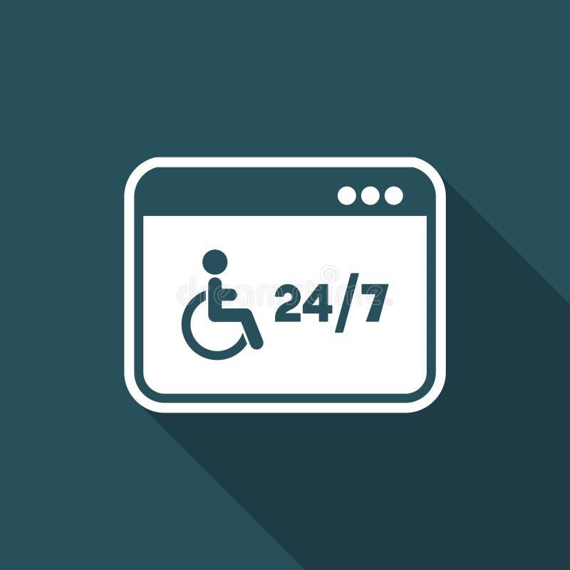 Servizi handicappati online 24/7 - Vector l'icona piana illustrazione di stock