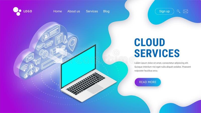 Servizi isometrici della nuvola che atterrano computer portatile royalty illustrazione gratis