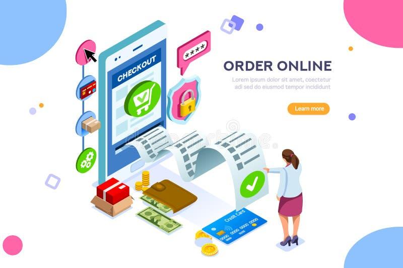 Servizi online per le transazioni finanziarie illustrazione di stock
