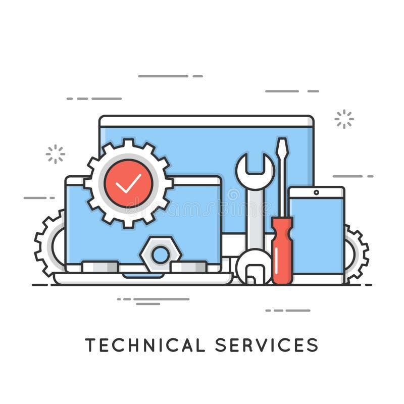Servizi tecnici, riparazione del computer, supporto Linea piana styl di arte illustrazione vettoriale