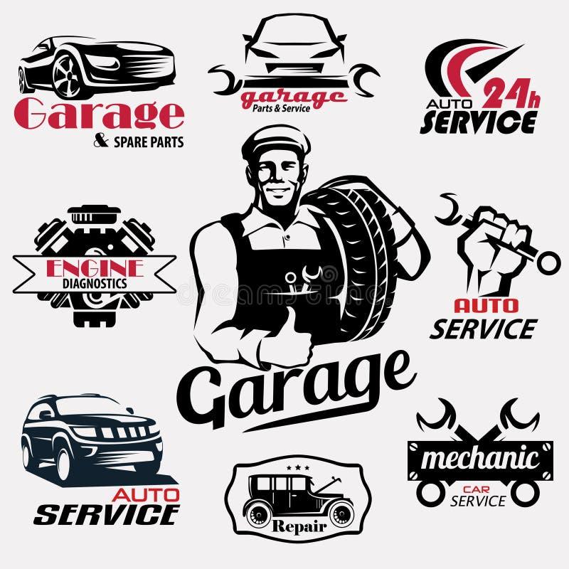 Servizio automatico e retro raccolta degli emblemi del garage royalty illustrazione gratis