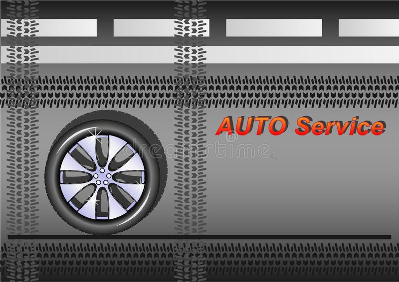 Servizio automatico, ruota di automobile sull'asfalto, la strada con le marcature bianche, con le tracce di gomme illustrazione di stock
