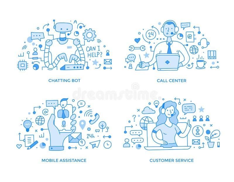 Servizio clienti & illustrazioni online del punto di assistenza illustrazione vettoriale