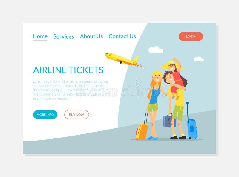 Servizio dei biglietti di linea aerea, insegna di prenotazione dei biglietti di volo, illustrazione d'atterraggio di vettore del  illustrazione vettoriale