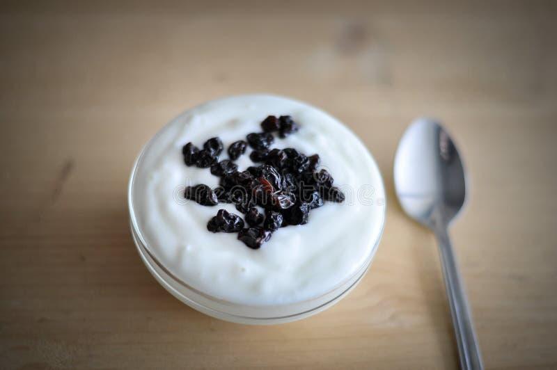 Servizio del yogurt con gli interi mirtilli e farina d'avena freschi sulla vecchia Tabella di legno rustica dettaglio del primo p fotografia stock