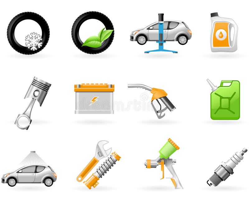 Servizio dell'automobile e riparare l'insieme dell'icona illustrazione vettoriale