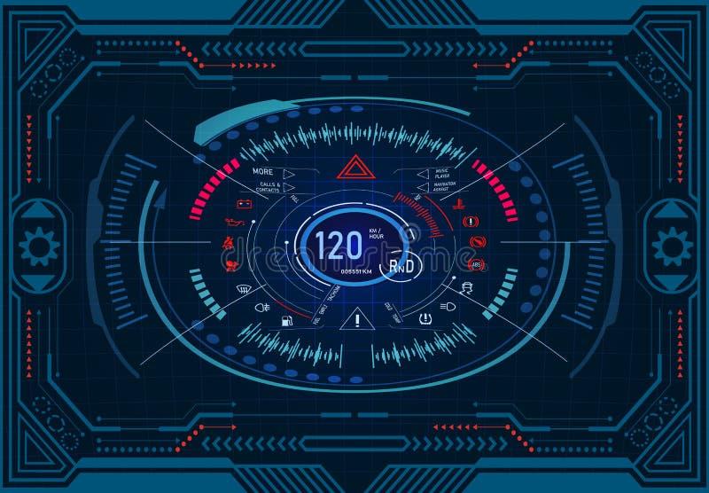 Servizio dell'automobile Progettazione futuristica del cruscotto su un monitor grafico nel telaio Tachimetro, tachimetro GUI HUD  illustrazione vettoriale