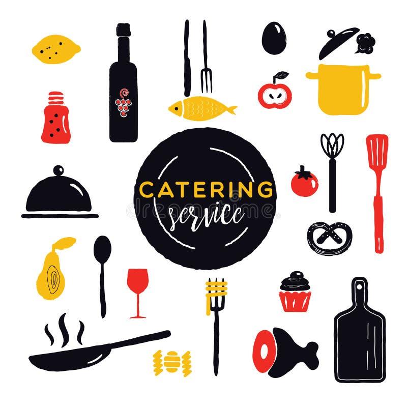 Servizio di approvvigionamento Concetto di progetto Utensili da cucina ed alimento differenti royalty illustrazione gratis