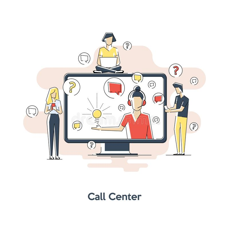 Servizio di assistenza al cliente, illustrazione piana di vettore di assistenza del cliente Supporto tecnico, concetto per l'inse illustrazione di stock