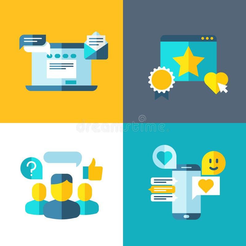 Servizio di assistenza al cliente, indagine del cliente, risposte, fondo di valutazione di concetto nello stile piano illustrazione di stock