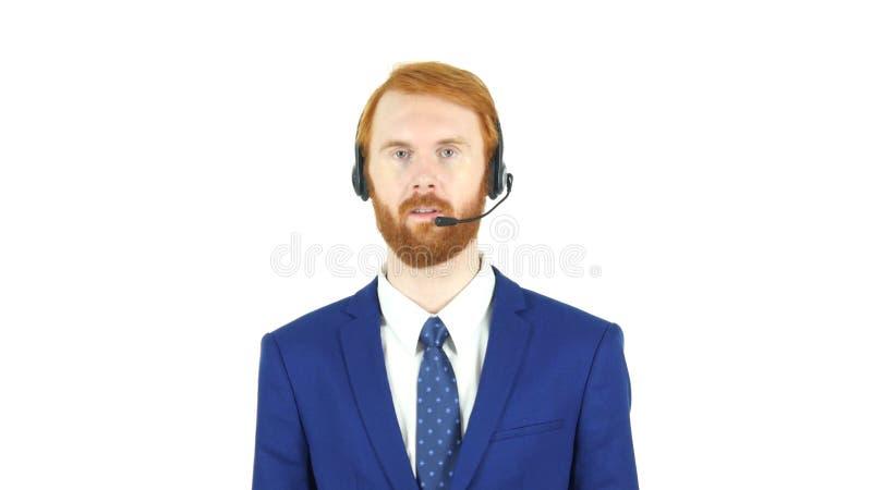 Servizio di assistenza al cliente, uomo d'affari rosso Talking della barba dei capelli in cuffia fotografie stock libere da diritti