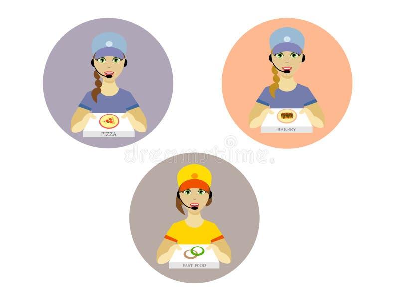 Servizio di distribuzione dell'alimento Deliverer della ragazza in uno stile piano illustrazione vettoriale