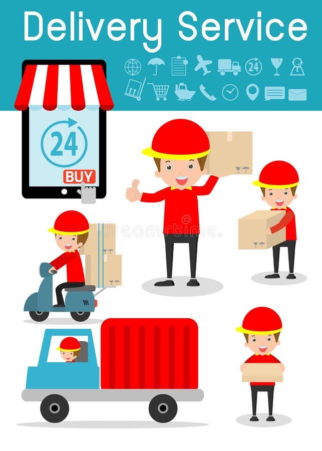 Servizio di distribuzione, fattorino, affare logistico, insieme di trasporto e trasporto, gente piana del carattere di progettazi illustrazione di stock