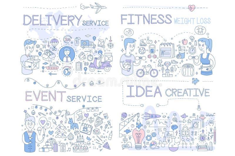 Servizio di distribuzione, perdita di peso di forma fisica, servizio di evento, illustrazione disegnata a mano creativa di vettor illustrazione di stock