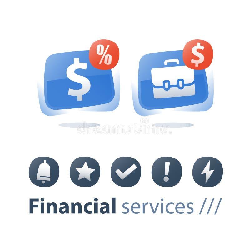 Servizio di Fnancial, portafoglio di investimento, fondo di investimento mutualistico, conto di finanza e gestione, mercato azion illustrazione vettoriale